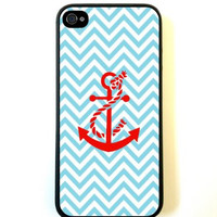 Turquoise Chevron Red Anchor iPhone 5 Case Fits iPhone 5