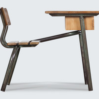 Prouve Style Dutch Childrens School Desk and Chair