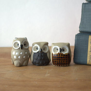 Vintage Collection of 3 Unique Pottery Owls