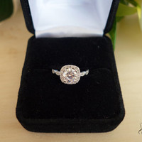 1.25 Ct Halo Vintage Inspired Engagement Ring, Flawless Man Made Diamond Simulant, Art Deco, Wedding, Bridal, Promise Ring, Sterling Silver