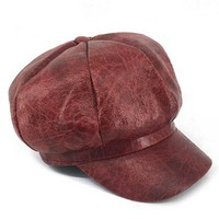 Burgundy Faux Leather Baker Boy Hat