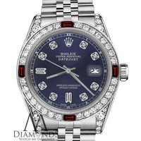 Women's Rolex 36mm Datejust Navy Blue Color Dial with Ruby & Diamond Accent Dial