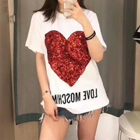 """Moschino"" Women Loose Casual Fashion Sequin Love Heart Letter Print Short Sleeve T-shirt Top Tee"