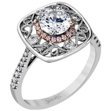 Simon G. Vintage Inspired Halo Filigree Design Floral Diamond Engagement Ring