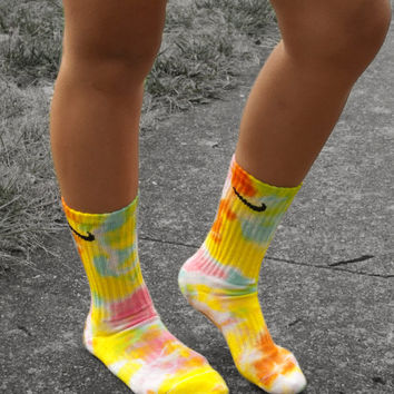 Cotton Candy Tie Dye Nike Crew Socks