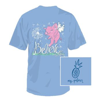 Believe Tee in Sky Blue by Southern Fried Cotton