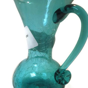 Blenko Teal Blue Crackle Glass Creamer or Juice Pitcher