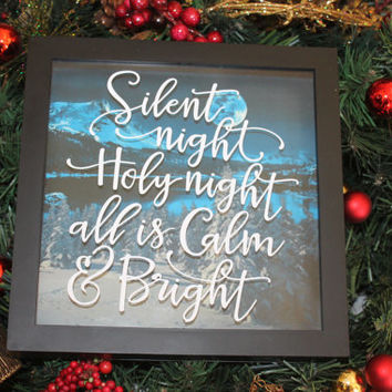 Silent Night Holy, Gift for Mom, Christmas, Decorative Sign, Christmas Santa Claus, Christmas Gift, Santa Claus, Home Decor, Merry Christmas