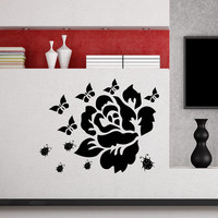Flower Wall Decals Rose Butterfly Ladybug Flowering Blossom Stickers Living Room Decor Vinyl Decal Sticker Art Mural Bedroom Decor MR329