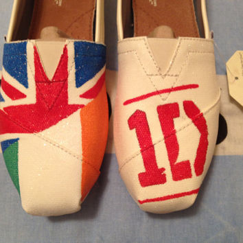 One Direction Inspired TOMS Shoes on Ivory Glitter