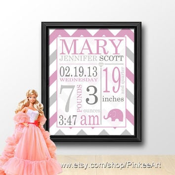 chevron birth stats wall art pink and grey, girl baby subway art, personalized birth stats, gift for new parents, baby birth print elephant