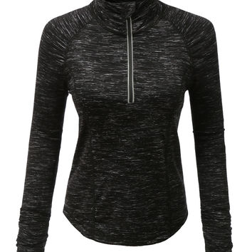 LE3NO Womens Active Half Zip Up Mock Neck Sports Jacket Top with Thumb Hole