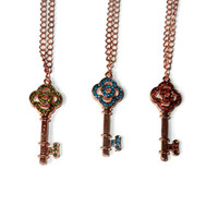 Rose Gold Rhinestone Key Charm Necklace, Choose Your Color Key, Best Friend Necklace
