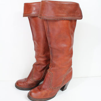 Size 7 chestnut brown tall fold down platform boots / brown cowboy boots / western boots / riding boots / size 7 boots