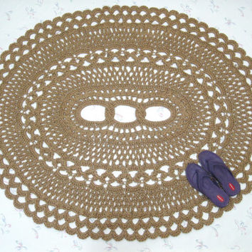 Oval Area Rug - Jute Doily Rug - Natural Fiber Rug - Crochet Patio Rug - Large Statement Rug - Doily Rug - Cabin Decor - OOAK Rug