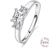 Authentic Sterling Silver Women Ring with Square Shape AAA Cubic Zircon Forever Wedding Ring