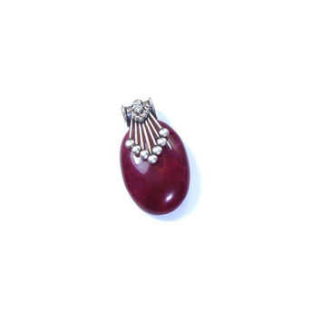 Ruby Jade Sterling Silver Pendant Necklace  ,  Sterling Silver Chain