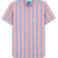 Summer Candy Stripe Short Sleeve Shirt | Cranberry | Ben Sherman