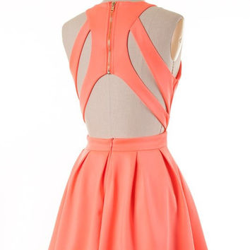 Neon Coral Party Dress from Blue Chic Boutique | Clothes