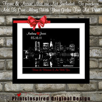 Unique Gift For Bride Groom Wedding Any Skyline Area or Baltimore Maryland Wedding Print: Home is Wherever Im With You md Wall Art Present