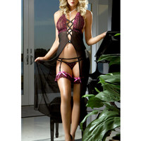 EROTIC Lingerie Plus size Women Underwear 3 Pcs Embroidered lace cups long dress with front criss cross and garter thong I2085 - Lingerie Life