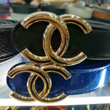 Chanel Women Fashion Smooth Buckle Belt Leather Belt