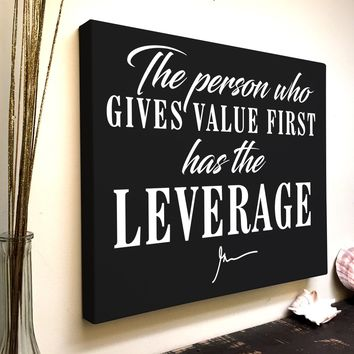 Gary Vee Quote Canvas Art: The Person Who Gives Value First