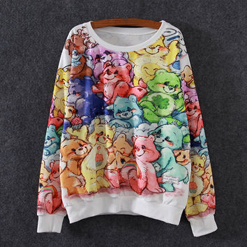 White Care Bear Print Loose Sweatshirt