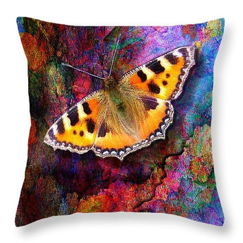 Custom made decorative  accent throw pillow. Colorful butterfly on rainbow background