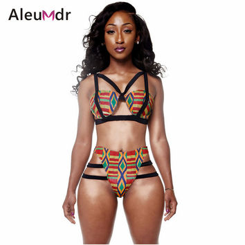 Summer beach wear 2016 High Waisted Crochet Bikini Swimsuit Women Swimwear African Print Inspired Two Piece Bathing Suit LC41665