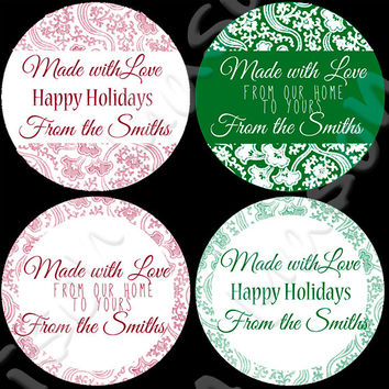 "Kitchen Christmas Labels or Happy Holidays Made with Love Stickers for Gift Tags / Mason Jars - 2"" & 2.5"" round tags"