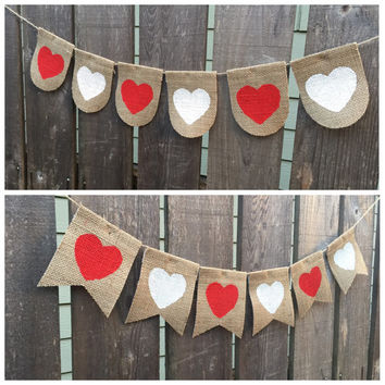 Valentine Day Decor - Valentines Day Heart Banner, valentines day decor  - Valentine Banner Sign- Valentines Day Bunting - wedding prop