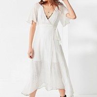 ASTR Gretchen Eyelet Midi Wrap Dress | Urban Outfitters
