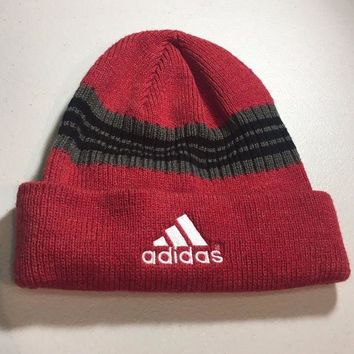 DCCKIHN BRAND NEW ADIDAS RED BLACK/GRAY STRIPED KNIT HAT SHIPPING