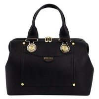 DCCKIN9 VERSUS VERSACE Black Leather Lion Head Satchel Hand Bag