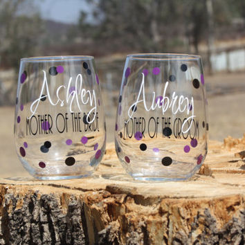 Set of Personalized Mother of the Bride & Mother of the Groom Stemless Wine Glasses- Personalized Wedding Gift