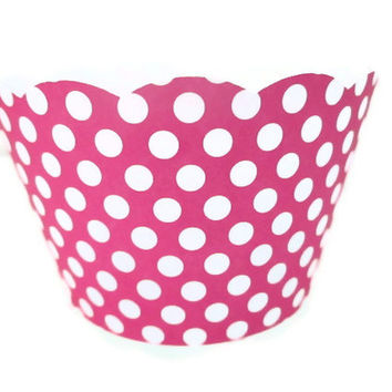Minnie Mouse Cupcake Wrappers-Minnie Mouse Party, Pink Polka dot wrappers, kids parties, cupcake wrappers, Minnie wrappers