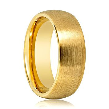 Aydins Gold Tungsten Wedding Band Brushed Tungsten Carbide Ring Domed 6mm 8mm Mens and Womens Tungsten