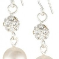 Cream Color Simulated 8mm Pearl and Pave Fireball Drop Earrings