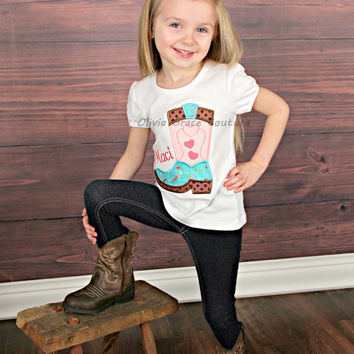 Cowgirl Shirt, Girls Cowgirl Boot, Girls Horse Shirt, Cowgirl Birthday, Rodeo Shirt, Embroidered Applique Shirt or Bodysuit