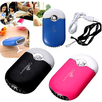 Cool Portable USB Rechargeable Hand held Air Conditioner Bladeless Cooling Fan