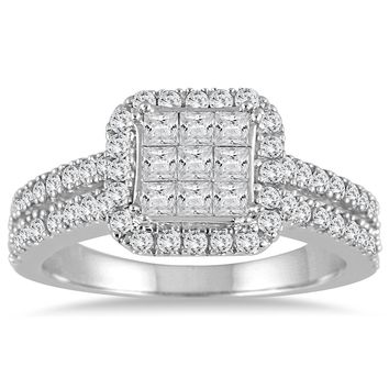 1 Carat TW 10K White Gold Invisible Princess Diamond Halo Engagement Ring (AGS Certified)