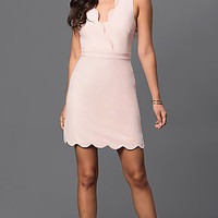 Blush-Pink Short Scalloped Backless Party Dress