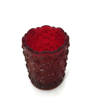 Mosser Glass Ruby Red Button & Daisy Toothpick Holder c1970's