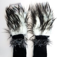 Black n White Long Fake Fur with recycled knit Fingerless Festival Rave Dance Arm Warmer Gloves