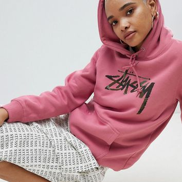 Stussy Oversized Hoodie With Camo Chest Logo at asos.com