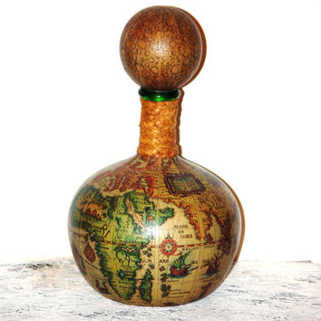 Valentines Sale 35% Off Italian Genuine Leather Decanter with Maps of the World Marked from 75
