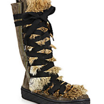 Moncler - Zoelie Rabbit Fur, Leather & Suede Lace-Up Boots - Saks Fifth Avenue Mobile