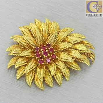 Tiffany & Co Vintage Estate 18k Solid Yellow Gold .60ctw Ruby Flower Brooch Pin