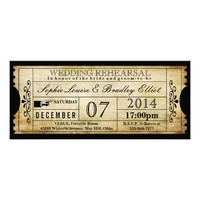 Vintage Ticket Wedding Rehearsal Invitations